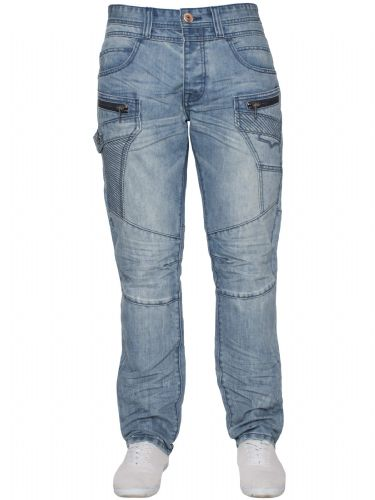 idenim Mens Funky Blue Acid Stonewashed Casual Denim Regular Tapered Fit Jeans